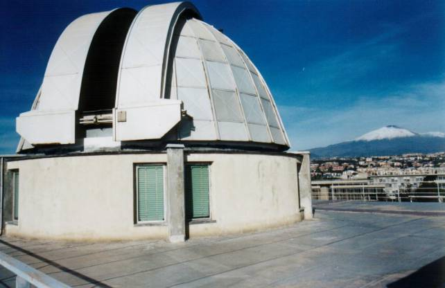 The dome of the solar telescope with Mt.Etna in the background